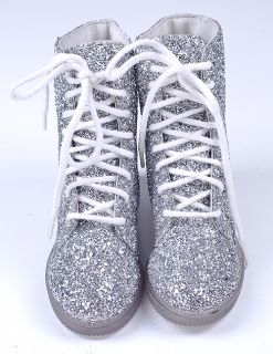La Durance Silver Glitter Pageant Dance Boot Shoes 10 5