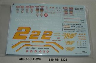 Decal Rusty Wallace Miller Genuine Draft 2 Mint 1 24