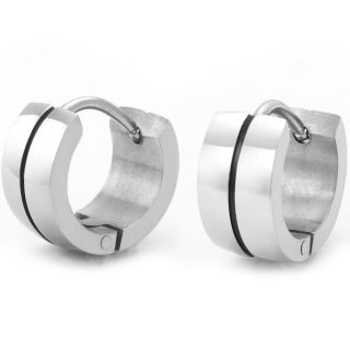 New 316L Stainless Steel Hoop Earrings for Men Jewelry Silver Black