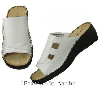 New Duck Head Shelly Womens White Leather Slides Sandals Shoes Size 10