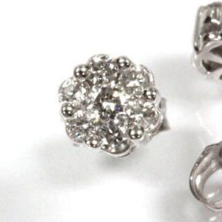 14k White Gold 0.50 Carat Diamond Cluster Earrings Stud Flower Design