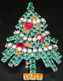 Eisenberg Ice Dangling Rhinestone Garland Vintage Christmas Tree Pin