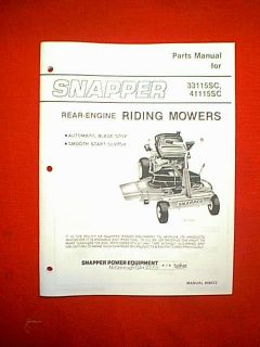 Snapper Rear Engine Riding Mower Parts Manual Models 33115SC 41115SC
