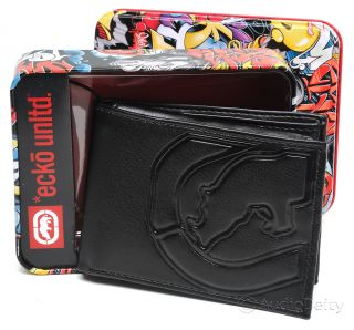 Marc Ecko Unltd. Mens Bi fold Wallet   Black Genuine Leather