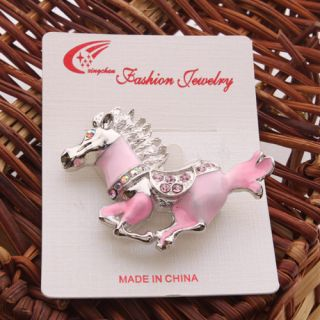 Cute Fashion Jewelry Brooch Pin Crystal Enamel Galloping Horse
