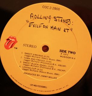 The Rolling Stones Exile on Main Street LP 2xLP Original COC 2 2900 VG