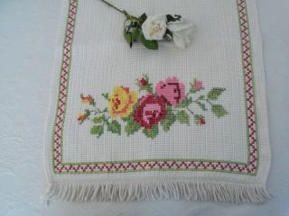 SHABBY CHIC VINTAGE HAND EMBROIDERED ROSES COTTON CHAIR BACK