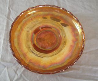 ANTIQUE FENTON MARIGOLD CARNIVAL GLASS WATER LILY AND CATTAIL PLATE