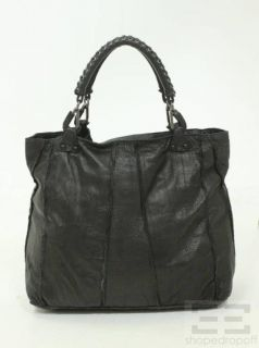 ellen tracy black soft leather raw edge tote bag
