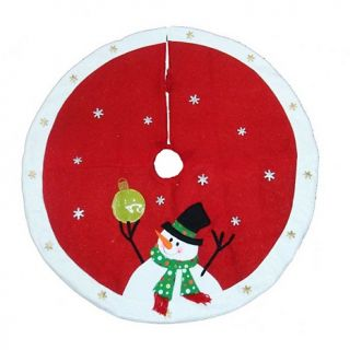 Kurt Adler Snowman and Ornament Christmas Tree Skirt