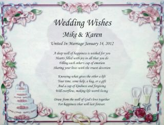Wedding Wishes Poem Lovely Gift for Bride Groom Personalize with Names