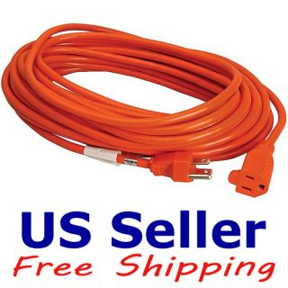 Outdoor 16 Gauge 3 Wire Extension Power Cord Orange ETL Listed