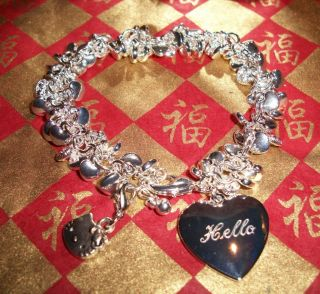 Hello Kitty Engraved Keepsake Jewelry Box Puffed Heart Bracelet Love