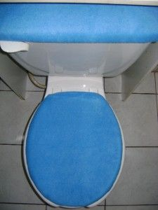 solid blue fleece fabric toilet seat cover set
