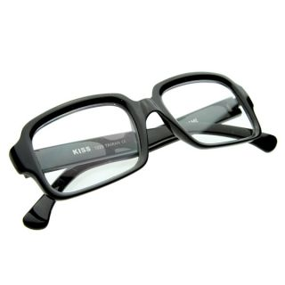 Eyewear Thick Frame Bold Square Clear Lens Eyeglasses Glasses