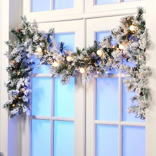 132 133 colin cowie colin cowie 9 flocked white garland with lights