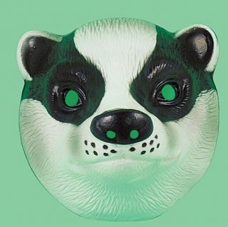 Plastic Badger Farm Animal Face Mask Fancydress