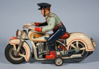 Modern Toys Japan Tin Police Motorcycle Late 50's No Box