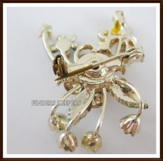 Enamel Rhinestone Pearl Pink Flower Bouquet Pin Brooch Costume Jewelry