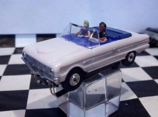 63 Ford Falcon Convertable White T Jet HO Scale Slot Car Aurora Wheels