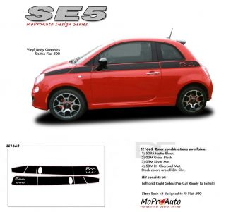 2013 Fiat 500 SE 5 Side Stripes Decals Graphics Pro Grade 3M Vinyl 3RE