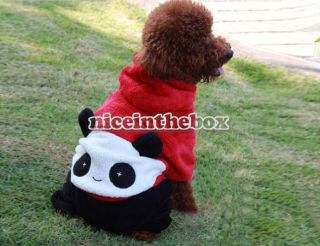 Casual Panda Pattern Pet Dog Hooded Coat Jumpsuit Clothes Apparel S M