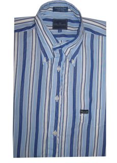 Faconnable Mens Short Sleeve Cotton Button Front Shirt Top Blue Stripe