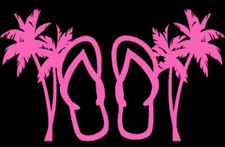 Custom Flip Flops and Palm Trees Vinyl Decal Sticker 5 Tall