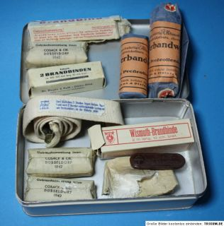 WWII German Wehrmacht First Aid Kit Tin incl 1942 Contens Field Post