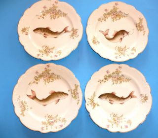 Antique Austrian China Clover Stamped 9 Fish Plates