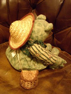Whimsical FISHING FROG with pole, worm, hat and creel basket decor