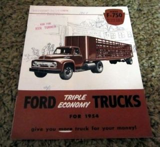 1954 Ford F 750 Truck Original Brochure