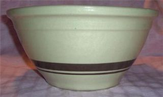 Vintage McCoy Large 10 Tan Mixing Bowl Brown Stripe Band Ovenware