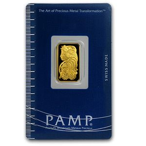 Gram Gold Bar Pamp Suisse Lady Fortun with Assay Card and Serial