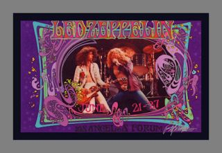 LED Zeppelin La Forum 1973 Poster Edition Hand Signed 60s Artist Bob