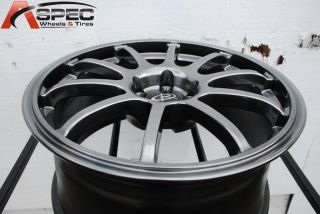 18X8.5 ROTA G FORCE 5X100 +48 HYPER BLACK WHEEL FITS SUBARU WRX STI