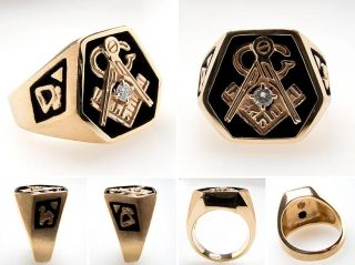 Heavy Mens Masonic Diamond Ring Brushed Finish Solid 14k Gold Estate