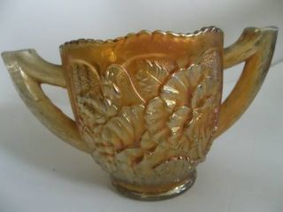 Imperial Pansy Marigold Carnival Glass Double Handle Open Sugar