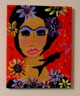 FRIDA & FLOWERS MEXICAN FOLK ART Painting *** ORIGINAL ** canvas 8 x