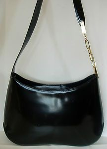 Francesco Biasia Black Smooth Leather Shoulder Bag Purse Handbag