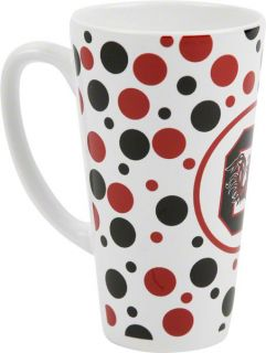 South Carolina Gamecocks 16oz White Polka Dot Latte Mug