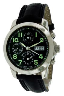 George J Von Burg Chronograph Black Dial Crocodile Leather Mens Watch