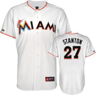 Giancarlo Stanton Jersey White Miami Marlins 27 Home Replica Jersey