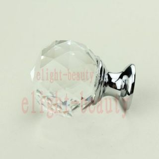 Clear Glass Crystal Cabinet Drawer Knobs Cupboard Pulls Door Handles
