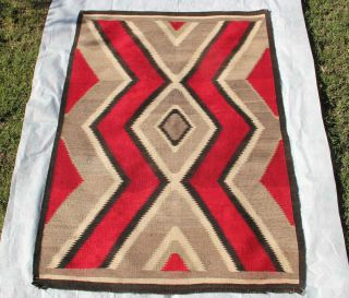 ANTIQUE GANADO NAVAJO RUG Native American classic Southwestern weaving