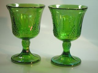 Indiana Carnival Glass Grapes Goblets Set of 2 Green