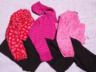 Faded Glory Girls Two Piece Black Pink Leggings Shirt Top Set Size 10
