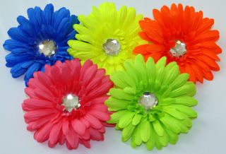 Neon Highlighter Gerber Gerbera Daisy Flower Clip or Head