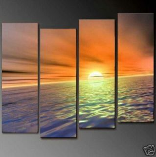 4pc Handmade Large Wall Decor Oil Painting On Art CanvasGold beach