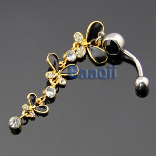 Gold Plated Butterfly Dangle Black Belly Navel Ring Body Piercing